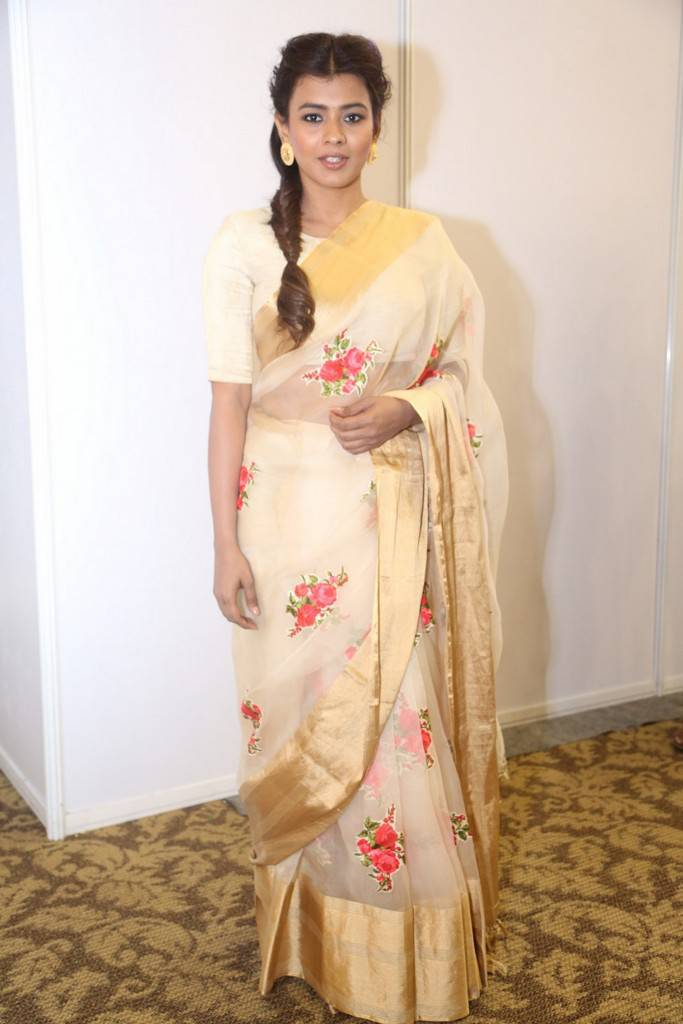 Hebah Patel In Yellow Saree At Film Pre Release Function
