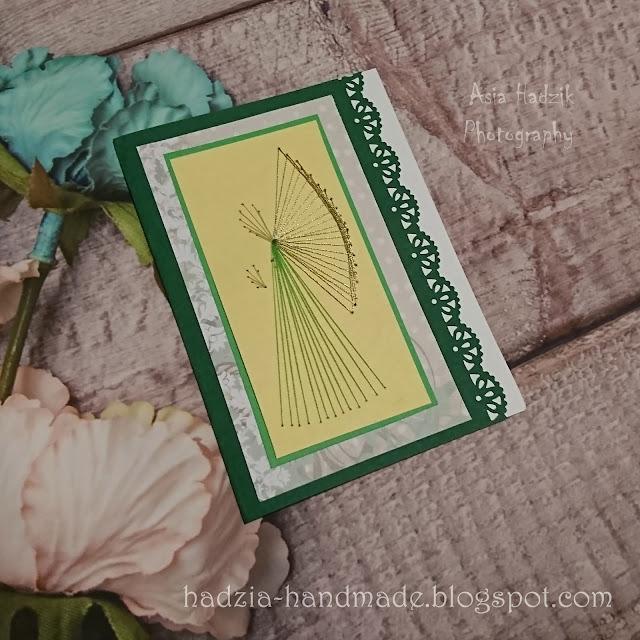 673. Zielona kartka bożonarodzeniowa z wyszywanym aniołkiem