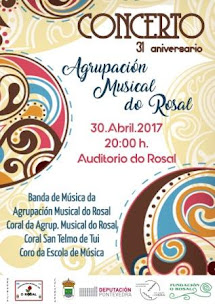 O ROSAL: DOMINGO DÍA 30 DE ABRIL, ÁS 20:00 H., NO AUDITORIO DO ROSAL, CONCERTO XXI ANIVERSARIO