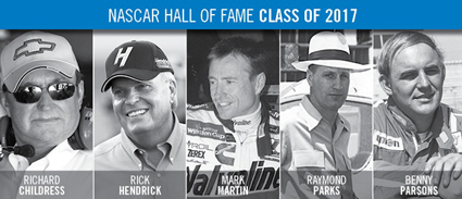 Richard Childress, Rick Hendrick, Mark Martin, Raymond Parks and Benny Parsons will be officially inducted into the #NASCAR Hall of Fame as its Class of 2017.