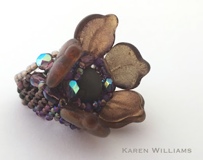 Dogwood Blossom freeform peyote ring by Karen Williams