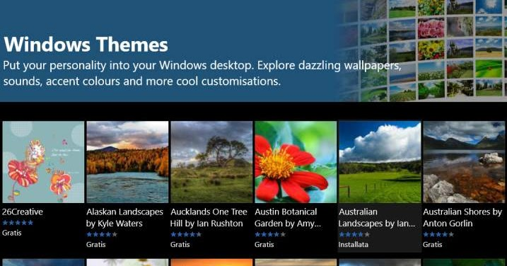 Installare temi desktop in Windows 10 per cambiare sfondo ... Desktop Themes