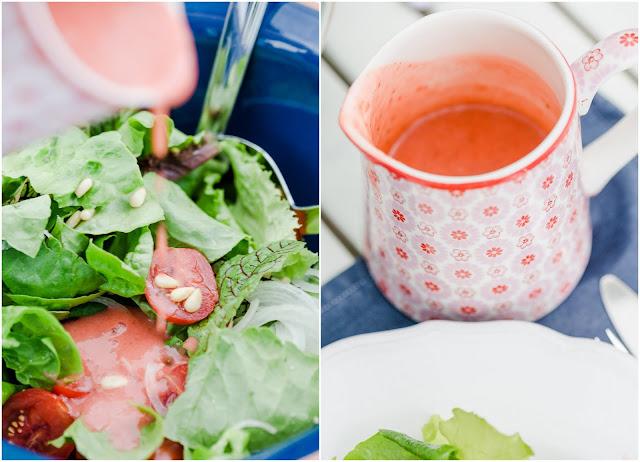 Von Schafgarbe und leckerem Dressing, Pomponetti, Sommerdressing mit Erdbeeren