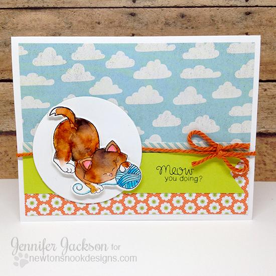 Kitty and yarn cards by Jennifer Jackson | Newton Unwinds Stamp set by Newton's Nook Designs #newtonsnook