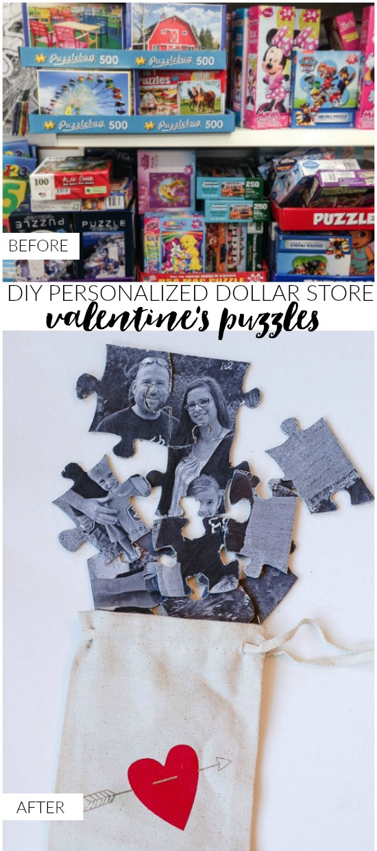 Dollar store puzzle turned personalized valentine's puzzle
