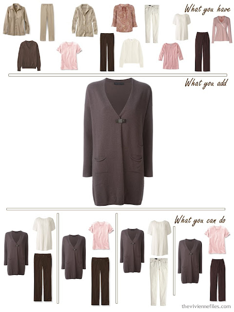 add a brown cardigan to a pink, khaki and brown wardrobe