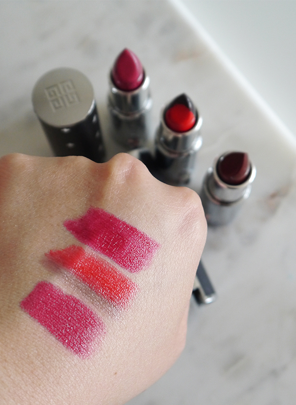 Swatches of Givenchy Le Rouge lipstick in 2017 Couture Edition 315 Framboise Velours, Le Rouge Sculpt 01 Sculpt'n Rouge, Le Rouge 326 Pourpre Edgy
