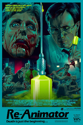Re-Animator Screen Print by Stan & Vince x Mad Duck Posters - VHS Wood Variant