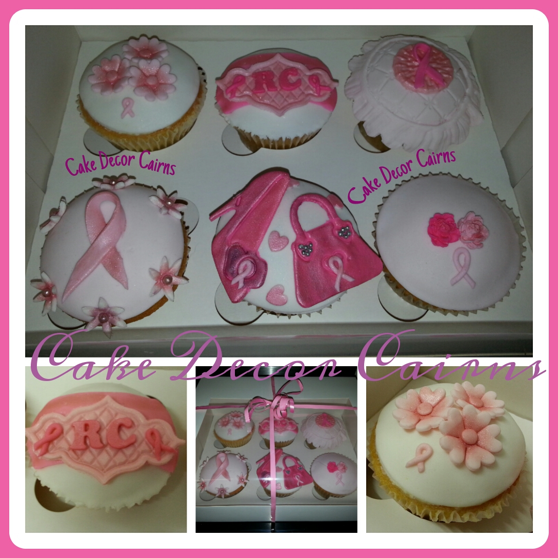 Pink Cancer Survival Cupcakes with fondant Toppers Ribbon Flowers Handbag Shoe