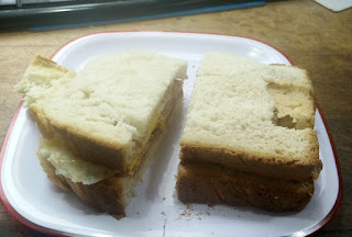 Home made bread butty, brought to my desk