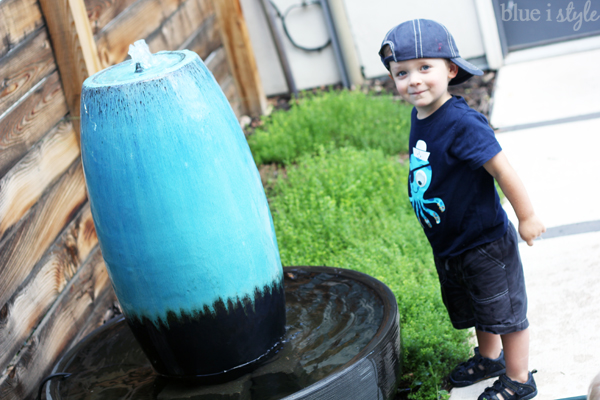 Teal backyard fountain