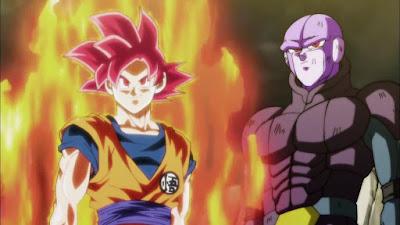 Goku Super Saiyan God Red team up dengan Hit