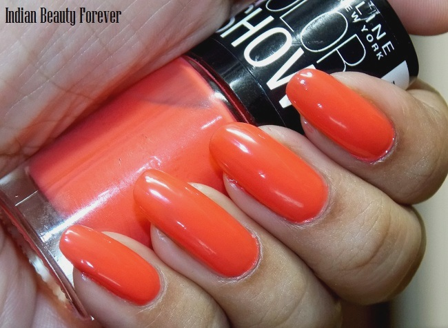 Maybelline color show Orange fix nail paints swatches