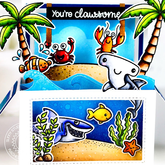 Sunny Studio Stamps: Best Fishes Sending Sunshine Catch A Wave Dies Interactive Card by Rachel Alvarado Summer Themed Card by Lexa Levana