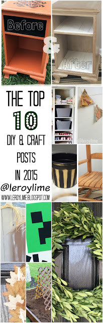 Top 10 DIY & CRAFT Posts in 2015 - Minecraft, $1 Wreath, Wooden Pumpkins, Curbside Makeover, Rocking Chair Makeover, DIY Raised Garden Box, DIY Custom Closet, Gold Buckets, Paper Bag Banner - LEROYLIME