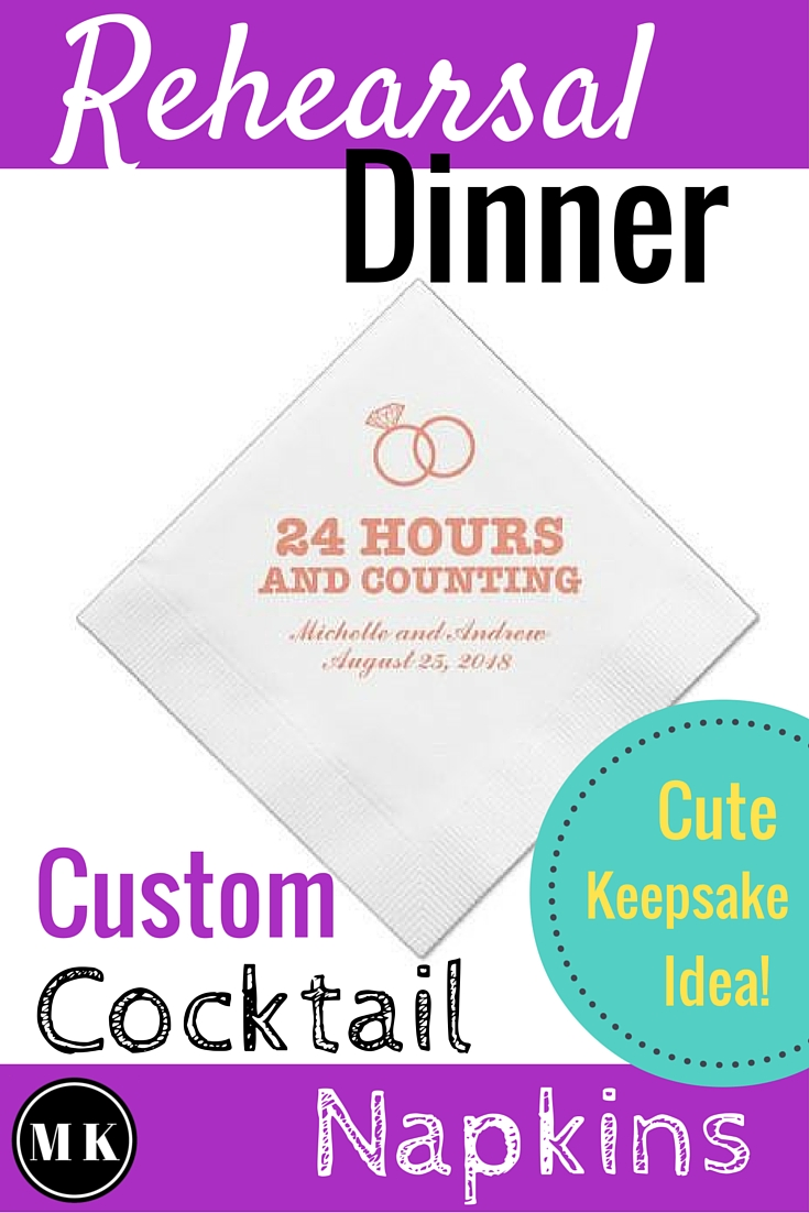 24 Hours and Counting Cocktail Napkins for Rehearsal Dinner - These napkins are full of style! I wish I had these for my rehearsal dinner. They are sure to add to the excitement of the event, and would look great in a photo! I love that these are personalizable. You can add the couples name and custom wedding date right on the paper napkin. The simple wedding rings design on the napkin in super cute too! Make sure to save a few, because they'll make a great keepsake idea for the wedding scrapbook!