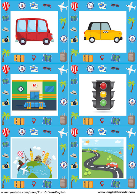 ESL transport flashcards with pictures