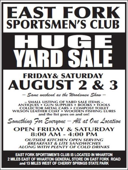 8-2/3 East Fork Sportsmen's Club Annual Yard Sale