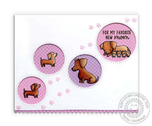 Sunny Studio Stamps: Puppy Parents New Mom Pink, White & Lavender Weiner Dog Card (using Ric Rac Borders & Staggered Circle dies and Gingham Pastel Paper)