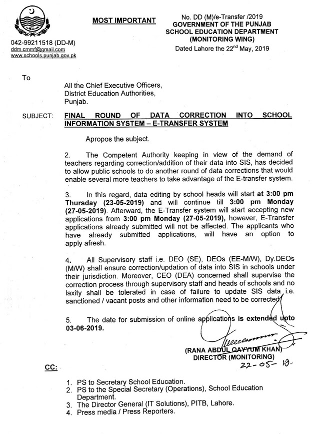 FINAL ROUND OF DATA CORRECTION IN SCHOOL INFORMATION SYSTEM (SIS) FOR E-TRANSFER