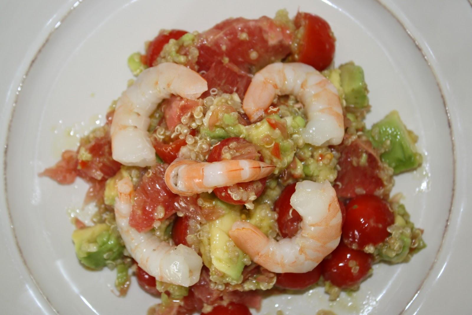 Kriket's cooking: Salade Quinoa-Crevettes-Avocat-Pamplemousse