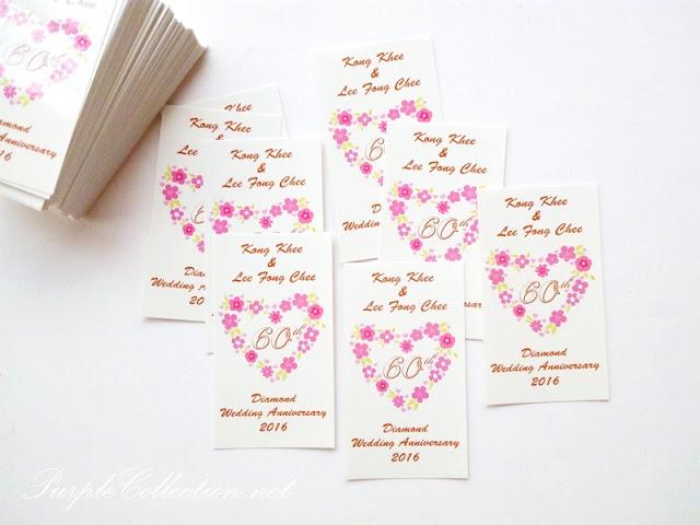 sticker label printing malaysia, wedding favour, love wreath, floral, pink, beige, door gift, kuala lumpur, selangor, singapore, johor bahru, penang, ipoh, perak, sabah, sarawak, kuching, miri, kota kinabalu, 60th anniversary, card, glossy surface finishing, matt