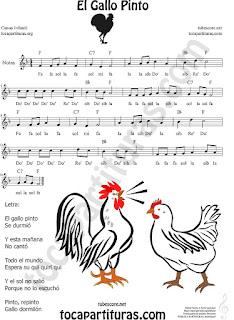 Partitura fácil con Notas canción infantil de El Gallo Pinto para aprender a tocar la flauta
