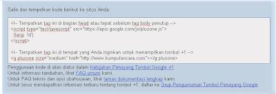 Cara Pasang tombol google +1 (Plus satu)