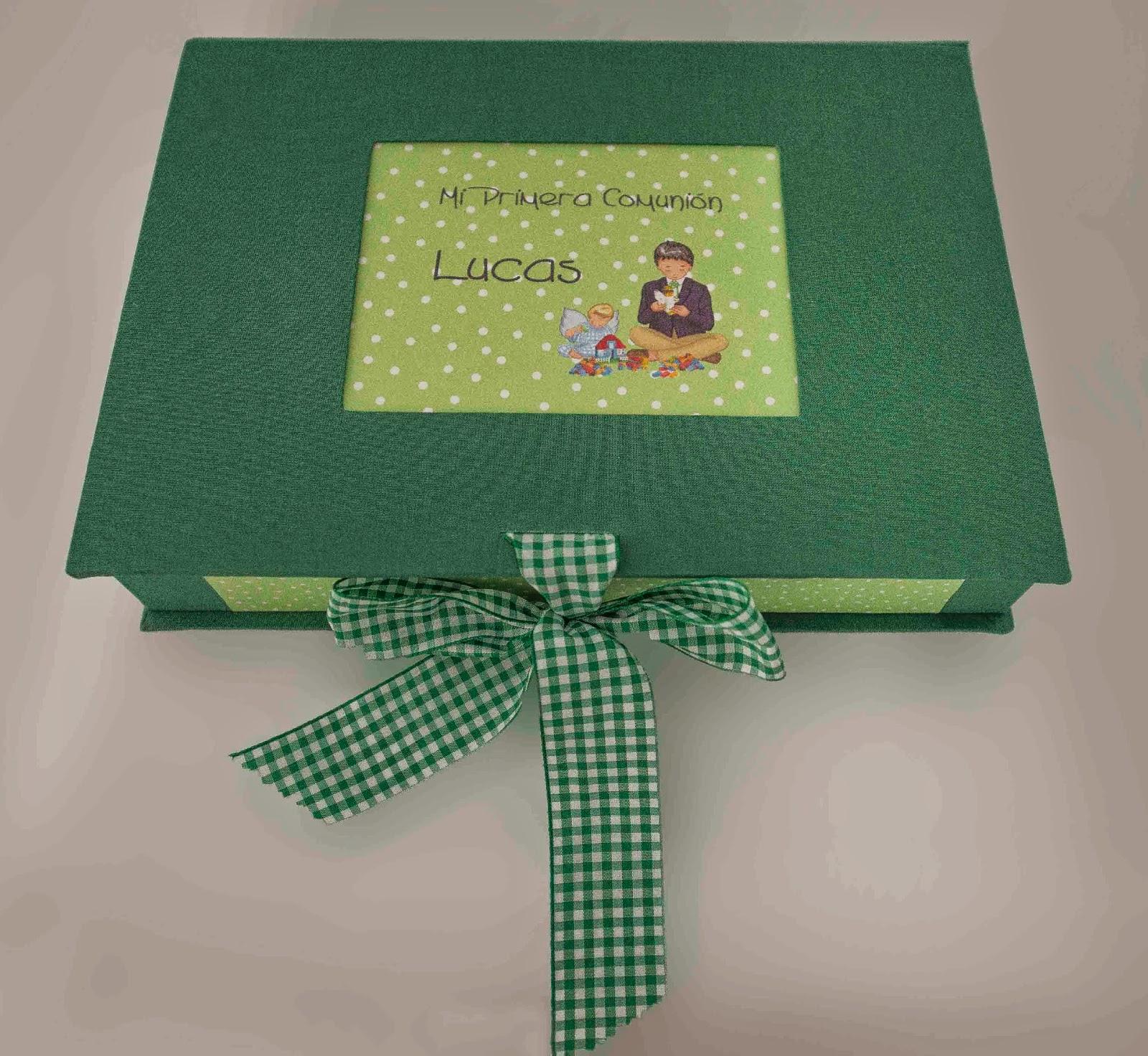 suitbook, caja, album comunion, encuadernacion, cartonaje