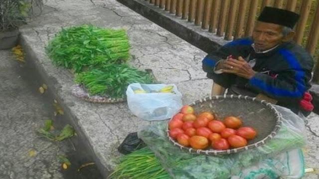 Berjalan Kaki Sejauh 5 Jam Perjalanan, Kakek Renta Penjual Sayur Ini Rela Dibayar Seikhlasnya