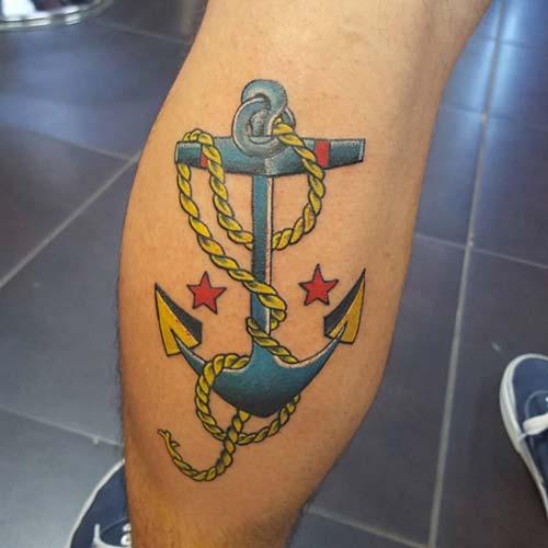 yellow blue anchor tattoo sarı lacivert çapa dövmesi