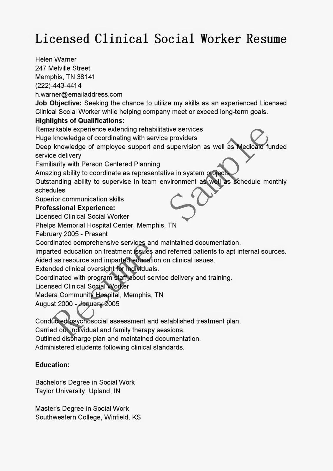 resume samples  licensed clinical social worker resume sample