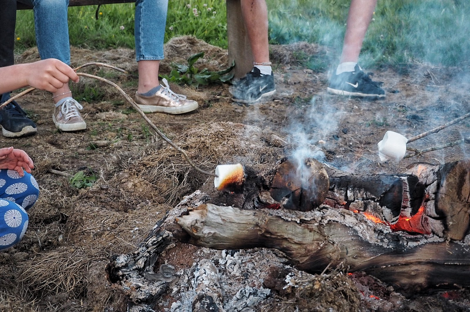 toasting marshmallows by the #GOcation camp fire