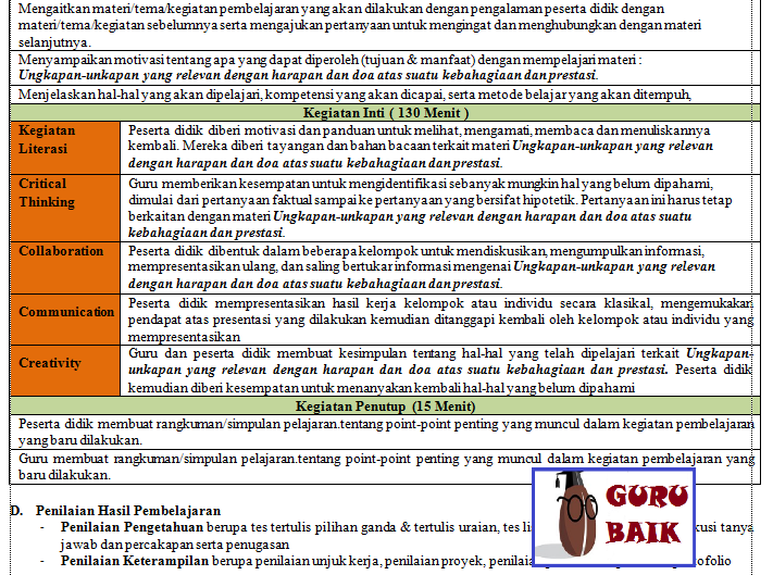 rpp 1 lembar bahasa inggris revisi 2020