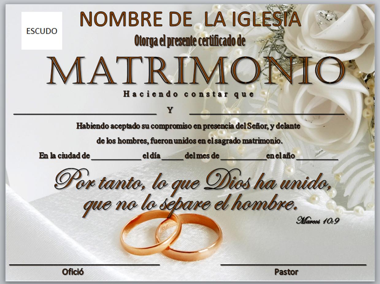 Acta De Matrimonio Catolico : Iglesia mar abierto certificados de matrimonio para