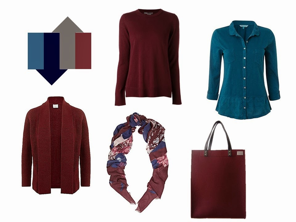 5-Piece French Wardrobe in burgundy maroon wine and teal blue