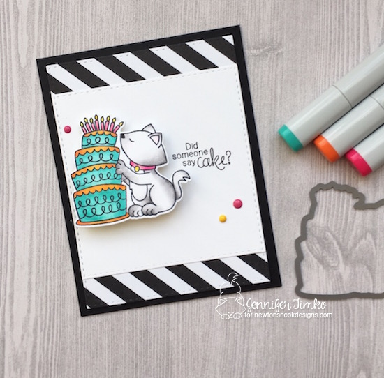 Cat and Cake Birthday card by Jennifer Timko | Newton Loves Cake Stamp Set by Newton's Nook Designs