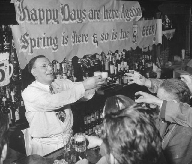 Bartender Sam Hock Serving Up Nickel Beers At Sams Bar Grill On St Marks Place March 1949