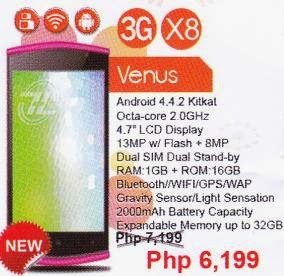 ZH&K Venus, 4.7-inch 2GHz Octa Core KitKat Smartphone for Php6,199