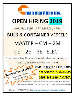 235  hiring seaman careers for Filipino crew work at a bulk carrier and container vessels deployment January-April 2019.