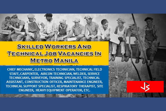 Are you an experienced Skilled Workers And Technical and looking for a job? The following are job vacancies for you. If interested, you may contact the employer/agency listed below to inquire further or to apply.   SKILLED WORKERS JOB HIRING  1. DINING CREW Apply before 14 Jul Office Address: 20th Floor Oledan Square, 6788 Makati Skyplaza, Ayala Ave., Makati City Vacancy: 15 openings Website: http://www.oraclesee.com  2. OFFICE STAFF Apply before 29 Jun Office Address: G&A Building, 2303 Pasong Tamo Extension, Makati, Metro Manila, Philippines Vacancy: 1 opening  3. COMPANY DRIVER Apply before 7 Aug Office Address:  14F Room D, The World Center Buiding, Sen. Gil Puyat Ave. Makati City, Makati, Metro Manila, Philippines Vacancy: 1 opening Website: http://www.smartfuture.com.ph/  4. WELDER Apply before 22 Jun Office Address: Tandang Sora, Quezon City, Metro Manila, Philippines Vacancy: 1 opening Website: http://www.fyrelyn.com  5. BARISTA | CASHIER | SERVICE CREW Apply before 6 Jun Office Address: 8006 cor United & Brixton Sts. Brgy. Kapitolyo Pasig City, Pasig, Metro Manila, Philippines Vacancy: 10 openings  6. CONSTRUCTION OFFICER Apply before 3 Aug Office Address: Accelerando Building, Makati Vacancy: 5 openings Website: http://www.ssigroup.com.ph  7. CHIEF MECHANIC Apply before 29 Oct Office Address: 60 Howmart Rd, Quezon City, 1106 Metro Manila, Philippines Vacancy: 1 opening Website: http://www.sciencemarketing.com.ph  8. ELECTRONICS TECHNICIAN Apply before 30 Jun Office Address: 1601 E. Rodriguez Sr. Ave, Brgy. Pinagkaisahan, 3F Tanbel Bldg., Quezon City, Metro Manila, Philippines Vacancy: 2 openings Website: http://www.geotechph.com  9. TECHNICAL FIELD STAFF Apply before 17 Nov Office Address: Topy's Place Bldg, Calle Industria, Bagumbayan, Quezon City, Metro Manila, Philippines Vacancy: 10 openings Website: http://www.beyondinnov.com  10. ELECTRO-MECHANICAL TECHNICIAN Apply before 1 Jul Office Address: 422 OAC Building, #27 San Miguel Avenue, Ortigas Center, Pasig City, PH Vacancy: 15 openings 11. CARPENTER Apply before 9 Jul Office Address: Unit 422 OAC Building, 27 San Miguel, Ortigas Center, Pasig City, Pasig, Metro Manila, Philippines Vacancy: 1 opening  12. ELECTRO-MECHANICAL TECHNICIAN Apply before 9 Jul Office Address: San Miguel Ave, San Antonio, Pasig, Metro Manila, Philippines Vacancy: 1 opening  13. AIRCON TECHNICIAN Apply before 9 Jul Office Address: San Miguel Ave, San Antonio, Pasig, Metro Manila, Philippines Vacancy: 3 openings  14. CARPENTER | PAINTER Apply before 7 Jul Office Address: San Miguel Ave, San Antonio, Pasig, Metro Manila, Philippines Vacancy: 5 openings  15. TRUCK MECHANIC Apply before 9 Dec Office Address: 760 Aurora Blvd, Quezon City, 1109 Metro Manila, Philippines Vacancy: 1 opening Website: http://www.oraclepetroleum.com  16. RESTAURANT SERVICE CREW Apply before 21 Dec Office Address: Quezon City, Metro Manila, Philippines Vacancy: 100 openings Website: http://paramountmpc.org/  17. SERVICE CREW Apply before 9 Oct Office Address: Makati, Makati, Metro Manila, Philippines Vacancy: 100 openings  18. MESSENGER | DRIVER Apply before 14 Aug Office Address: Philippine Stock Exchange Plaza, Ayala Ave, Makati, Metro Manila, Philippines Vacancy: 1 opening  19. WAITRESS Apply before 4 Aug Office Address: 25A Timog Avenue South Triangle Quezon City, Quezon City, Metro Manila, Philippines Vacancy: 1 opening Website: http://www.piandre.com  20. FOOD SERVER Apply before 13 Aug Office Address: 25A Timog Avenue South Triangle Quezon City, Quezon City, Metro Manila, Philippines Vacancy: 1 opening Website: http://www.piandre.com  21. LIBRARY ASSISTANT  Apply before 12 Aug Office Address: 3rd Floor CTTM Building, Timog Avenue corner Tomas Morato, Quezon City, Quezon, Metro Manila, Philippines Vacancy: 1 opening Website: http://www.ciit.edu.ph  22. COMPANY DRIVER Apply before 7 Aug Office Address: 14F Room D, The World Center Buiding, Sen. Gil Puyat Ave. Makati City, Makati, Metro Manila, Philippines Vacancy: 1 opening Website: http://www.smartfuture.com.ph/  23. SERVICE TECHNICIANS Apply before 6 Aug Office Address: Green Palm Bldg. 1696 Baler St., Valenzuela, Makati, Metro Manila, Philippines Vacancy: 4 openings Website: http://www.switch.com.ph  24. BARTENDER Apply before 6 Aug Office Address: Ayala Ave, Makati, Metro Manila, Philippines Vacancy: 1 opening Website: http://www.apartment1b.com/  25. WAREHOUSE STAFF | NIGHT SHIFT Apply before 29 Jun Office Address: Chino Roces Ave, Makati, Metro Manila, Philippines Vacancy: 6 openings Website: http://www.ninjavan.co    26.MAINTENANCE | MESSENGER Apply before 30 Aug Office Address: Amberland Plaza, Jade Dr, San Antonio, Pasig, 1605 Metro Manila, Philippines Vacancy: 1 opening Website: http://www.imadigitalmarketer.com/ Salary: 10,000.00 - 15,000.00 PHP/ month  27. HOST | HOSTESS Apply before 5 Aug Office Address: 723 Aurora Blvd, Quezon City, 1112 Metro Manila, Philippines, New Manila, Quezon City, Metro Manila, Philippines Vacancy: 100 openings Website: http://ipams.com/index.php  28. SERVICE TECHNICIAN Apply before 6 Aug Vacancy: 4 openings Office Address Green Palm Bldg. 1696 Baler St., Valenzuela, Makati, Metro Manila, Philippines  29. SERVICE TECHNICIAN FOR LUGGAGE Apply before 30 Dec Vacancy: 1 opening Office Address Maja Development Compound, Pasig, Metro Manila, Philippines Website: RIMOWA Philippines  30. SURVEYOR Apply before 29 Sep Vacancy: 2 openings Office Address Datem Building 99 Mindanao Avenue, 1106 Quezon City, 99 Mindanao Avenue Barangay Bahay Toro, Quezon City, Quezon, Metro Manila, Philippines Website: Datem Inc.  31. QUANTITY SURVEYOR Apply before 30 Aug Vacancy: 2 openings Office Address Datem Building 99 Mindanao Avenue, 1106 Quezon City, 99 Mindanao Avenue Barangay Bahay Toro, Quezon City, Quezon, Metro Manila, Philippines Website: Datem Inc  32. TRAINING ASSISTANT/RESPIRATORY THERAPIST Apply before 4 Aug Vacancy: 1 opening Office Address 279 E Rodriguez Sr. Ave, Quezon City, 1112 Metro Manila, Philippines Website: http://www.stluke.com.ph  33. TRAINING SPECIALIST Apply before 29 Sep Vacancy: 1 opening Office Address Makati, NCR, Philippines Website: http://www.lbpsc.com.ph/  34. TECHNICAL ASSISTANT Apply before 30 Aug Vacancy: 1 opening Salary: 13,000.00 - 15,000.00 PHP/ month Office Address 6th & 7th Flr, 112 SOL Building, Amorsolo St, Legaspi Village, Makati, Metro Manila, Philippines Website: http://www.keyland.com.ph/  35. CONSTRUCTION OFFICER Apply before 3 Aug Vacancy: 5 openings Office Address Accelerando Building, Makati Website: http://www.ssigroup.com.ph  36. MAINTENANCE ENGINEER Apply before 1 Aug Vacancy: 1 opening Office Address Ayala Ave, Makati, Metro Manila, Philippines Website: http://www.apartment1b.com/  37. SOFTWARE ENGINEER Apply before 29 Jul Vacancy: 6 openings Salary: 30,000.00 - 70,000.00 PHP / month · Full time Office Address Makati, Metro Manila, Philippines Website: http://www.tagitmobile.com  38. TECHNICAL RECRUITER/PROJECT-BASED Apply before 22 Jun Vacancy: 6 openings 20,000.00 - 30,000.00 PHP / month · Full time Office Address Kickstart Ventures, 55 Paseo de Roxas Ave., cor. Buendia Ave., Makati, Metro Manila, Philippines Website: www.kalibrr.com  39. CHIEF MECHANIC Apply before 29 Oct Vacancy: 1 opening Office Address 60 Howmart Rd, Quezon City, 1106 Metro Manila, Philippines Website: http://www.sciencemarketing.com.ph  40. TECHNICAL SUPPORT SPECIALIST Apply before 27 Jun Vacancy: 1 opening Office Address 7F Hanston Building, F. Ortigas Jr. Rd, Ortigas Center, Pasig, Metro Manila, Philippines Website: https://imanila.ph/  41. CONSTRUCTION MANAGER Apply before 30 Dec Vacancy: 1 opening Office Address 36 Meralco Ave, Ortigas Center, Pasig, Metro Manila, Philippines Website: RIMOWA Philippines  42. PROJECT COORDINATOR Apply before 30 Jul Vacancy: 1 opening Office Address Suite 809 Cityland 10 Tower 1, H.V. Dela Costa St., Makati, Metro Manila, Philippines Website: https://www.xibre.com  43. TECHNICAL FIELD STAFF Apply before 17 Nov Vacancy: 10 openings Office Address Topy's Place Bldg, Calle Industria, Bagumbayan, Quezon City, Metro Manila, Philippines Website: http://www.beyondinnov.com  44. RESPIRATORY THERAPIST Apply before 14 Jul Vacancy: 1 opening Office Address 279 E. Rodriguez, Sr. Blvd., Quezon City, Metro Manila, Philippines Website: http://www.stluke.com.ph  45. PMG TECHNICAL ASSISTANT Apply before 30 Jul Vacancy: 1 opening Office Address CLC Marketing Ventures, Inc, 114 - 116 Sauyo Road Novaliches, Q.C. (near Mindanao Avenue), Quezon, Metro Manila, Philippines Website: http://www.clmv.com.ph  46. SITE ENGINEER Apply before 30 Jul Vacancy: 5 openings Office Address Quezon City, Metro Manila, Philippines Website: https://www.hspow.asia  47. MECHATRONICS ENGINEER Apply before 29 Jul Vacancy: 1 opening Office Address 102 Kalayaan Ave. Diliman Quezon City, Quezon City, Metro Manila, Philippines Website: http://www.norde.com.ph  48. QA SPECIALIST Apply before 8 Jul Vacancy: 1 opening Salary: 25,000.00 - 30,000.00 PHP / month · Full time Office Address V.A. Rufino St, Makati, Metro Manila, Philippines Website: http://www.swooploop.com  49. SOLUTIONS SPECIALIST Apply before 3 Jul Vacancy: 1 opening Office Address Questronix Corporate Center, 178 Yakal St. Brgy. San Antonio, Makati, Metro Manila, Philippines Website: Questronix Corporation  50. HEAVY EQUIPMENT OPERATOR Apply before 8 Jul Vacancy: 1 opening Office Address 226 Quirino Hwy, Quezon City, 1116 Metro Manila, Philippines Website: http://www.bataan2020.net  SOURCE: www.kalibrr.com  DISCLAIMER: Thoughtskoto is not affiliated to any of these companies. The information gathered here are verified and gathered from the kalibrr website.