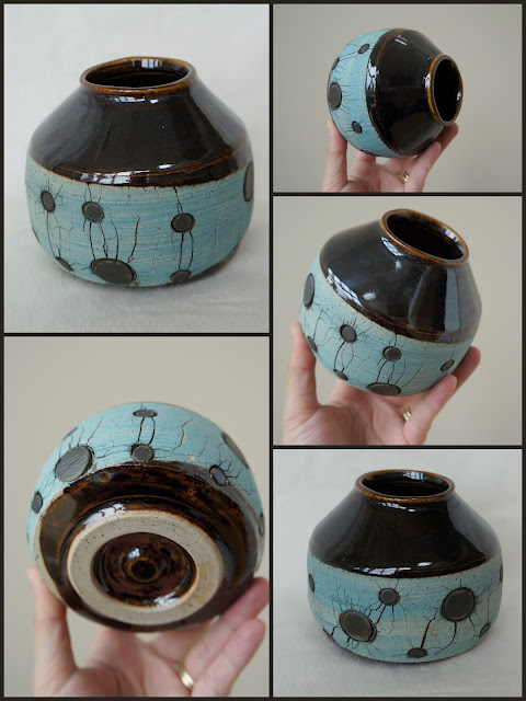 Handmade sodium silicate crackled pottery by Lily L.
