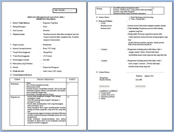 RPL BK - Rencana Pelaksanaan Layanan Bimbingan Konseling