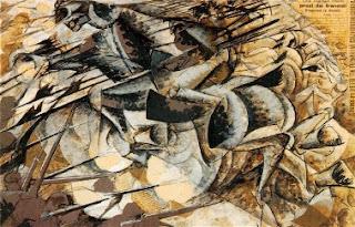 quadro semiastratto, in cui si distinguono cavalli e cavalieri lanciati in corsa con lance puntate