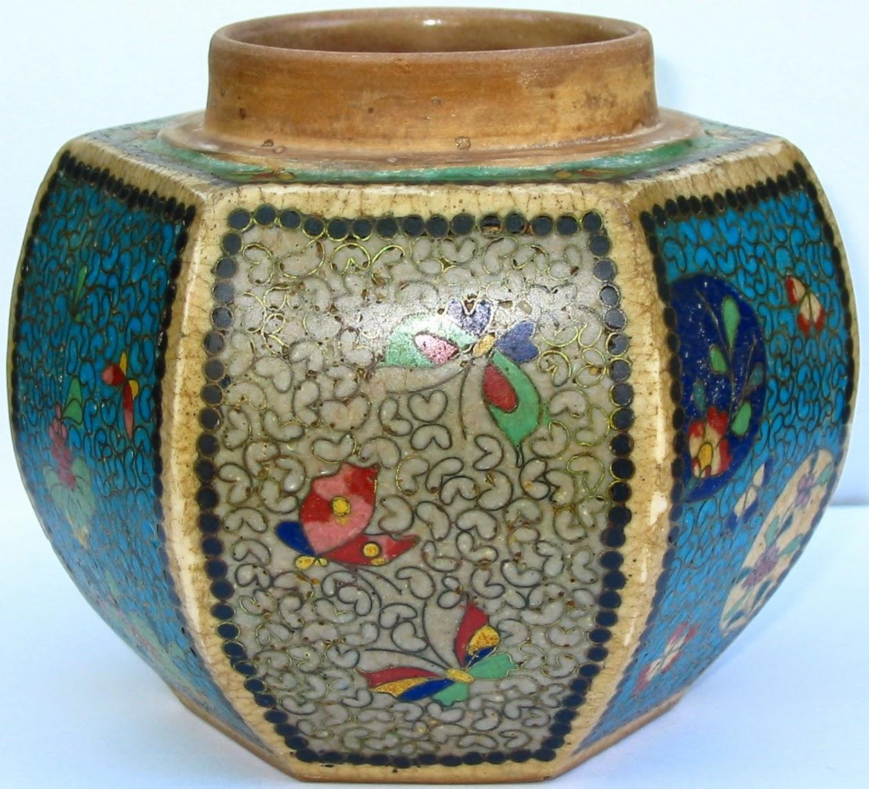 Lauragarnet Cloisonne On Porcelain Japanese Totai Ginger Jar Hexagonal Six Panel Jar Vase