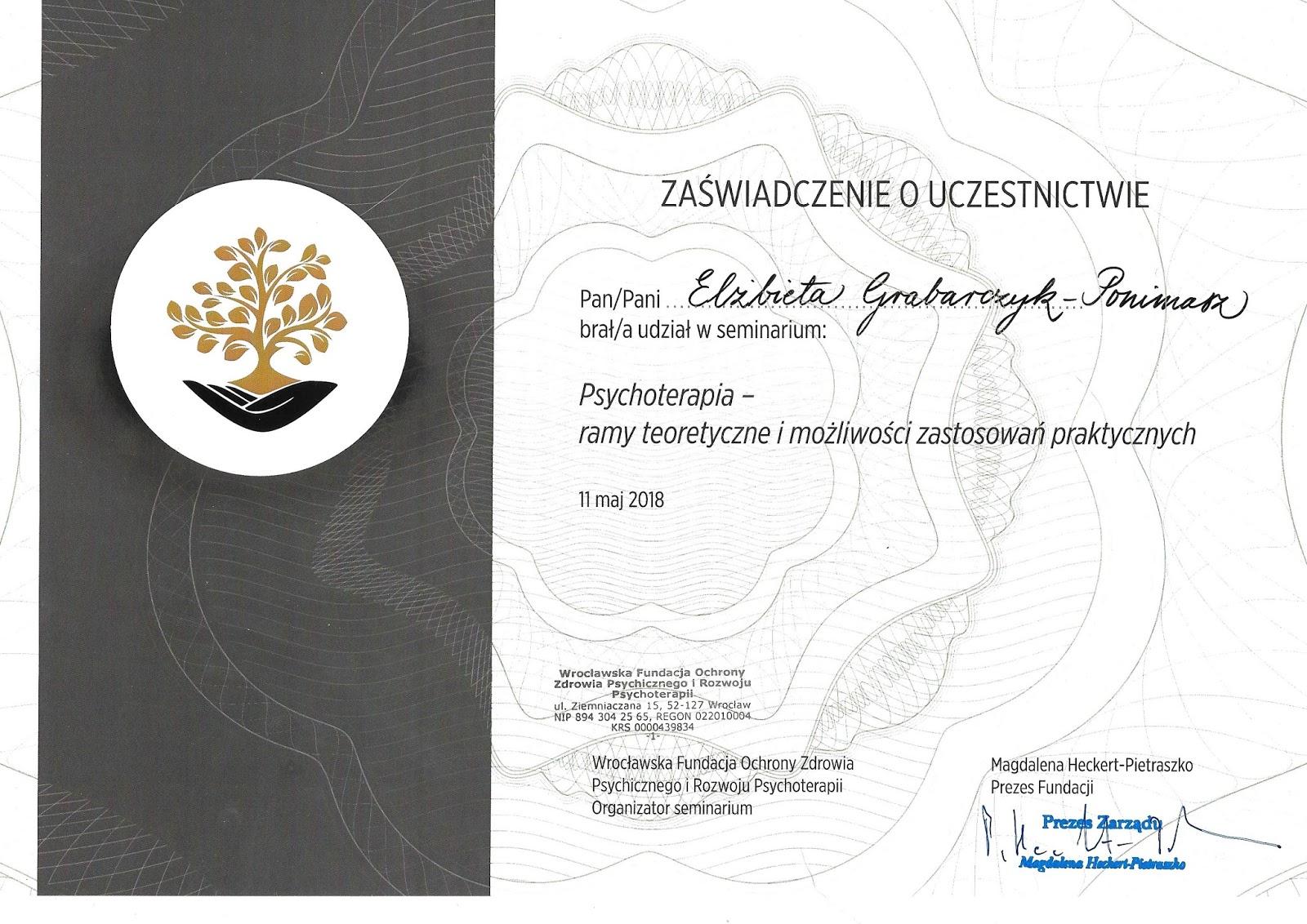 Seminarium Psychoterapia - ramy teoretyczne i możliwości zastosowań praktycznych - dobry psycholog warszawa szkolenie
