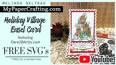 D2BA Holiday Village Stamp– Card | FREE SVG