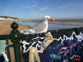 We visited the pier just after the Hastings Pier Yarn Bomb had opened!