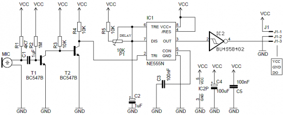 Sound Processor With 555 circuit diagram
