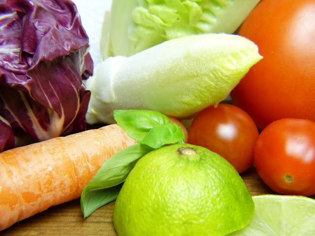 fruta y verduras a la plancha